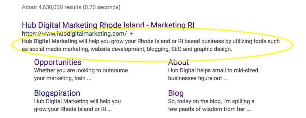 Meta Descriptions - Hub Digital Marketing, RI.