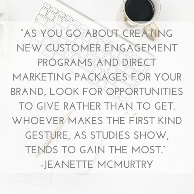 """As you go about creating new customer engagement programs and direct marketing packages for your brand, look for opportunities to give rather than to get. Whoever makes the first kind gesture, as studies show, tends to gain the most."" - Jeanette McMurtry --- Have you ever thought of your marketing as coming from a place of kindness? 🤷🏻‍♀️ --- Imagine that! Thinking about your business as contributing to the world 🌎, helping people, and making a difference instead of just about the money. 💵 --- Potential clients and customers can see through you and know when you're being authentic and care about them, and when you just want them to buy! . . . #digitalmarketing #digitalmarketingtips #onlinemarketing #onlinemarketingtips #smallbiztips #smallbizlife #smallbizmarketing #smallbusiness #smallbusinessmarketing #smallbusinesses #marketingdigital #marketingonline #smallbusinesslove #smallbizowner #marketingstrategy #marketingplan #marketinglife #tipoftheday #hubdigital #marketinghacks"