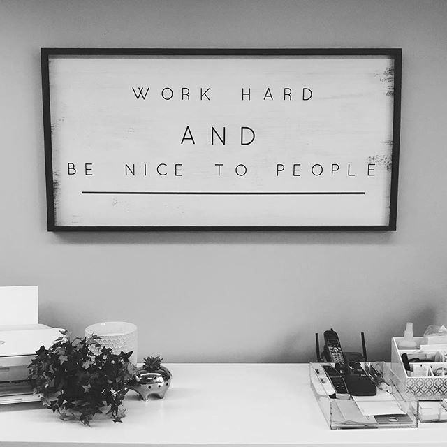 Our new office decor is a nice midweek reminder ❤️ . . . #benicetopeople #workhard #officedecor #smallbusiness #smallbiz #smallbiztips #smallbizlife #smallbizowner #entrepreneurlife #entrepreneur #entrepreneurship #hubdigital