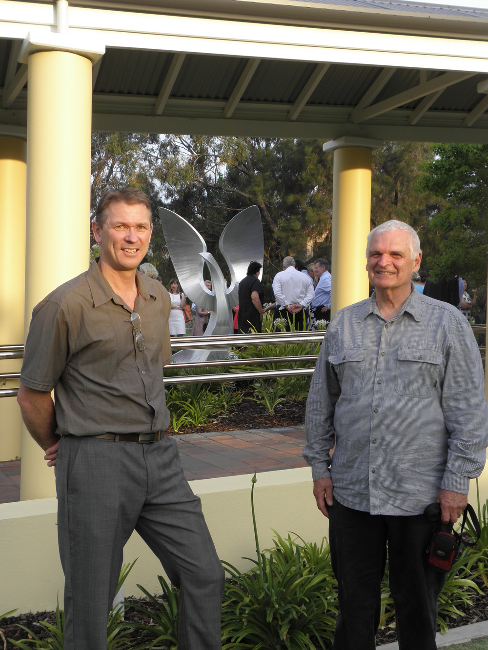 "Harry with Tony Jones OAM at the official unveiling of ""Spreading our Wings"", St Hildas, Mosman Park, WA, November 2009."