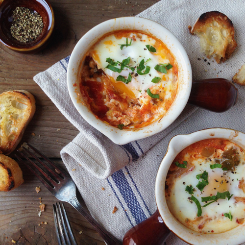 Baked eggs with kimchi and sausage