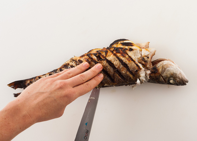 Run a sharp knife along the head, spine and tail of the fish to carve out the first fillet.