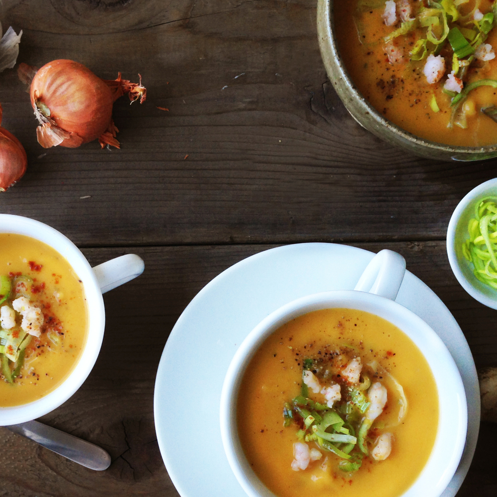 Butternut squash soup with orange and ginger