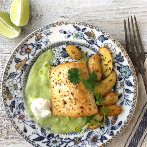 Mahi mahi with avocado cucumber sauce