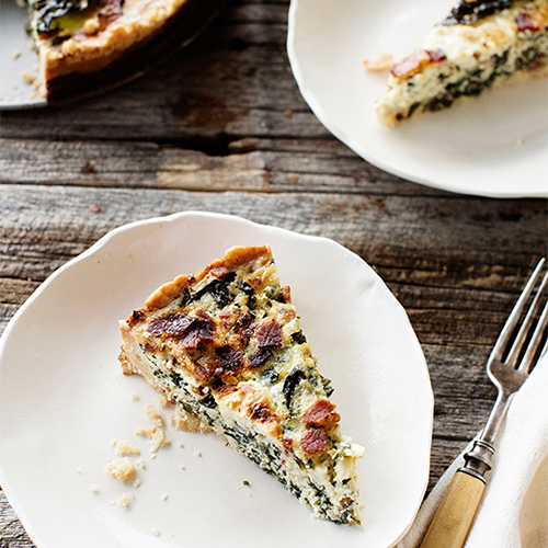 Bacon Kale Tart with Cheese Crust