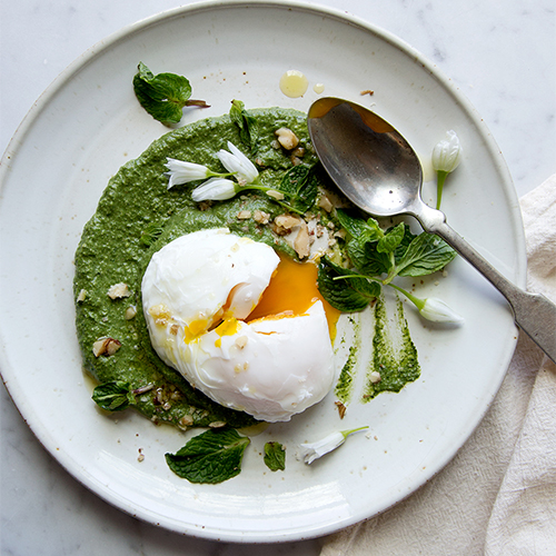 Nettle and Spinach Puree with Poached Egg