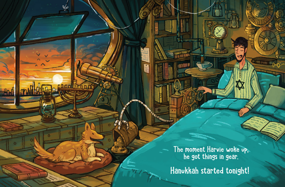 Spread for   Hanukkah Harvie Vs. Santa Claus,   Published by Library Tales Publishing.
