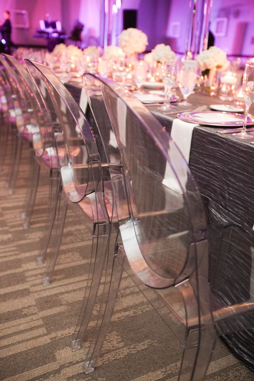 Modern and elegant wedding. #GhostChairs #FestivitiesMN