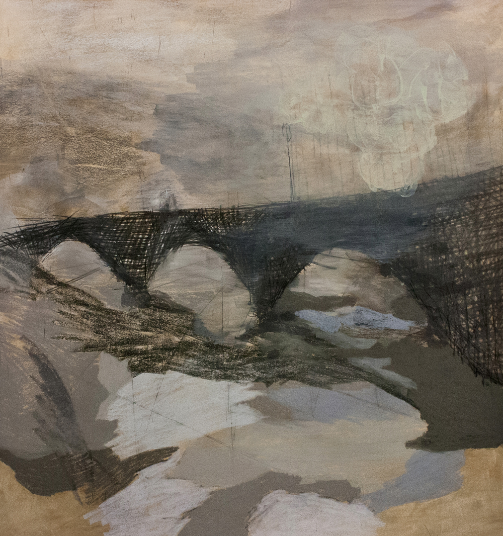 "Mirabeau Bridge, Mixed Media on Paper, 41.5"" x 44.5"", 2013"