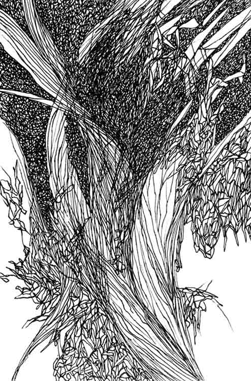 "Rise, Pen on Paper, 5"" x 7"", 2015"