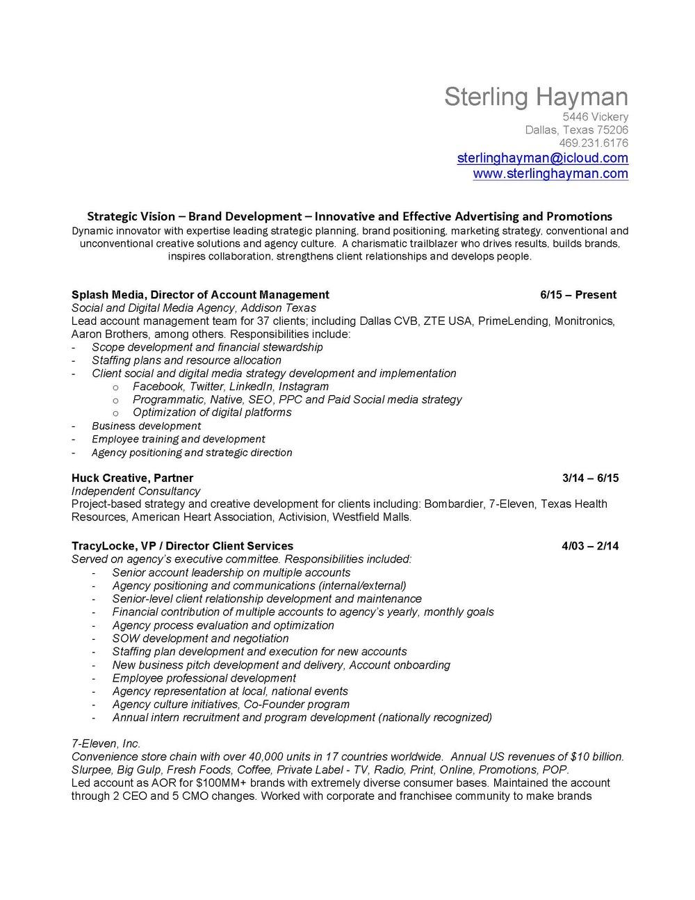 resume sterling hayman