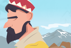 An in-progress shot of an illustration inspired by the shepherds of Northern India.