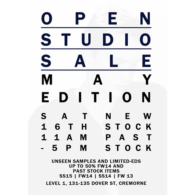 Our first OPEN STUDIO SALE is happening this Saturday 16th May! New stock, past season and Paris samples will be available. Up to 50% marked items. Sign up on our website to find out about our Members-only night, with further offers and discounts available! ;) #frombritten #sale #menswear | 11am - 5pm |