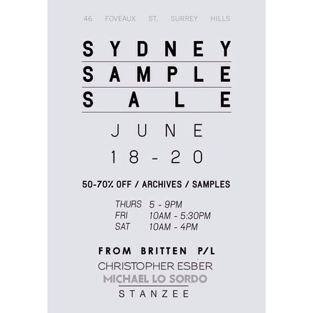 Sydney sample sale. Rare pieces and current season. From tomorrow till sat! For other sale enquiries please email info@frombritten.com.au #frombritten #sydney #menswear