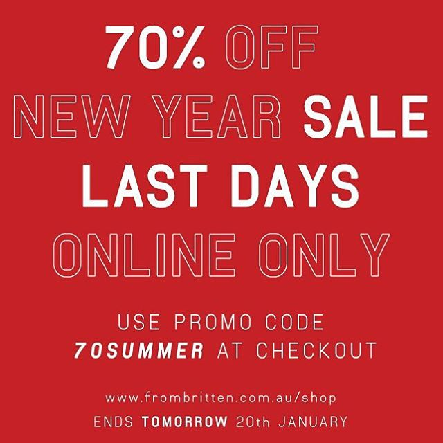 Sale ends tomorrow! Use promo code 70SUMMER at checkout! Online stock only ;) Shop here: www.frombritten.com.au/shop | #sale #onlinesale #onlinesales #lastminute #menswear #designer