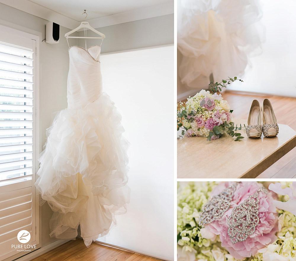 wedding dress hanging. stunning wedding shoes. bride's details
