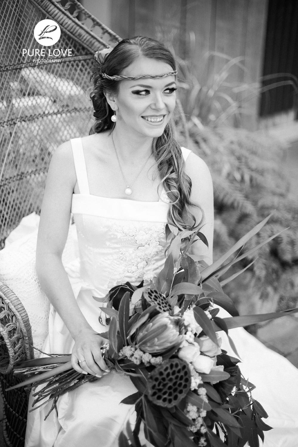 Bride smiling black and white