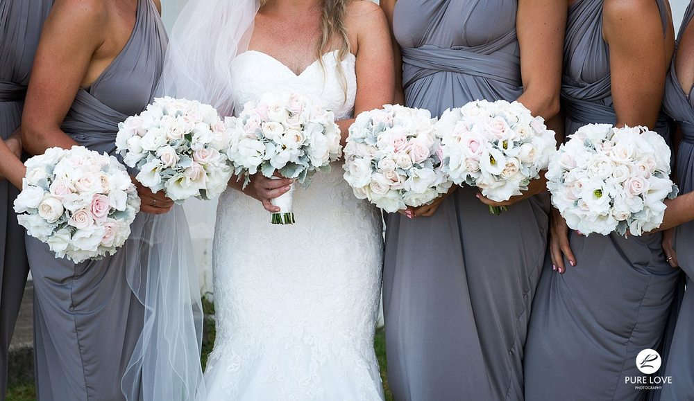 Bridal Flowers. Grey bridesmaid dresses and white bouquets.