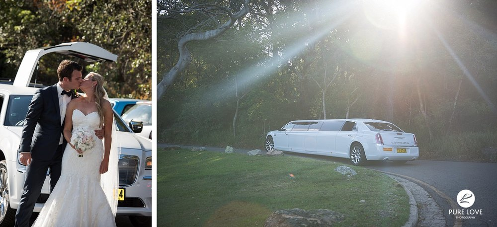 Bride and Groom leaving on their limousine. wedding car.