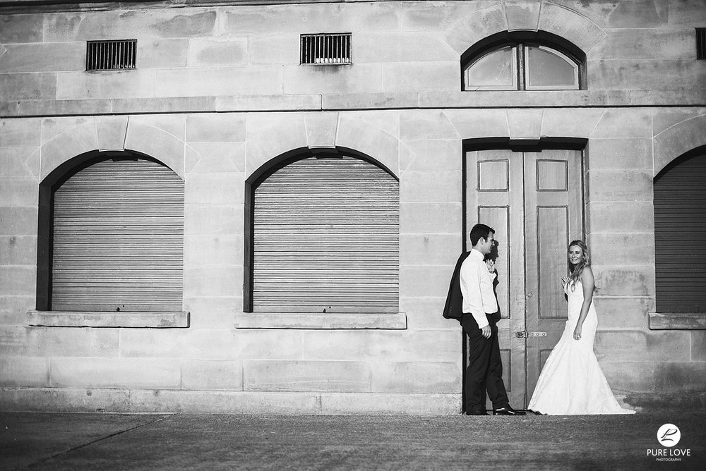 Amazing wedding photo of bride and groom. Black and white
