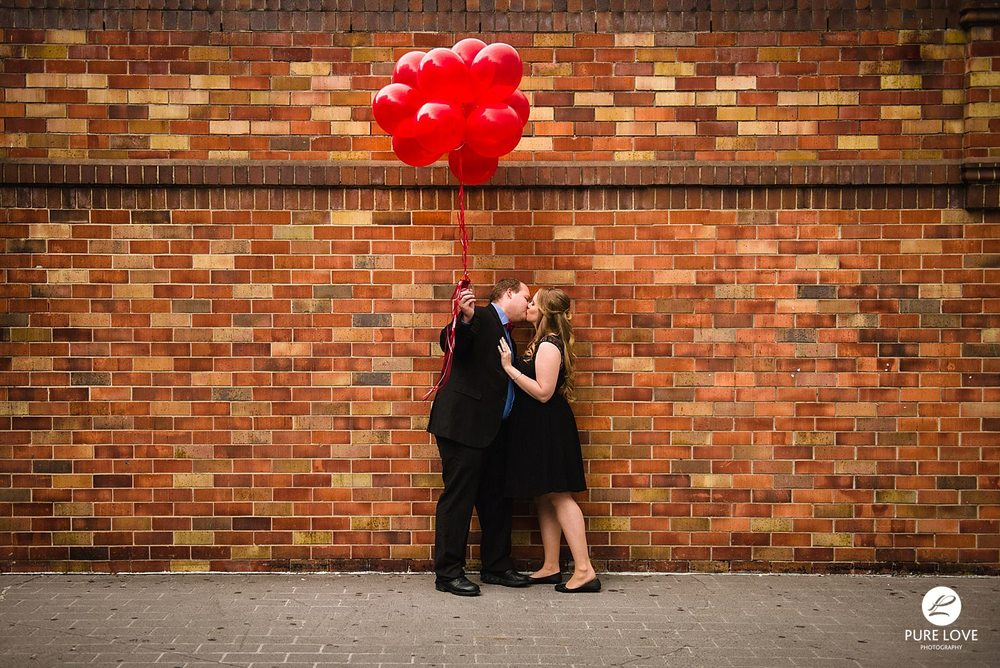 Brick walls and balloons Engagement Session