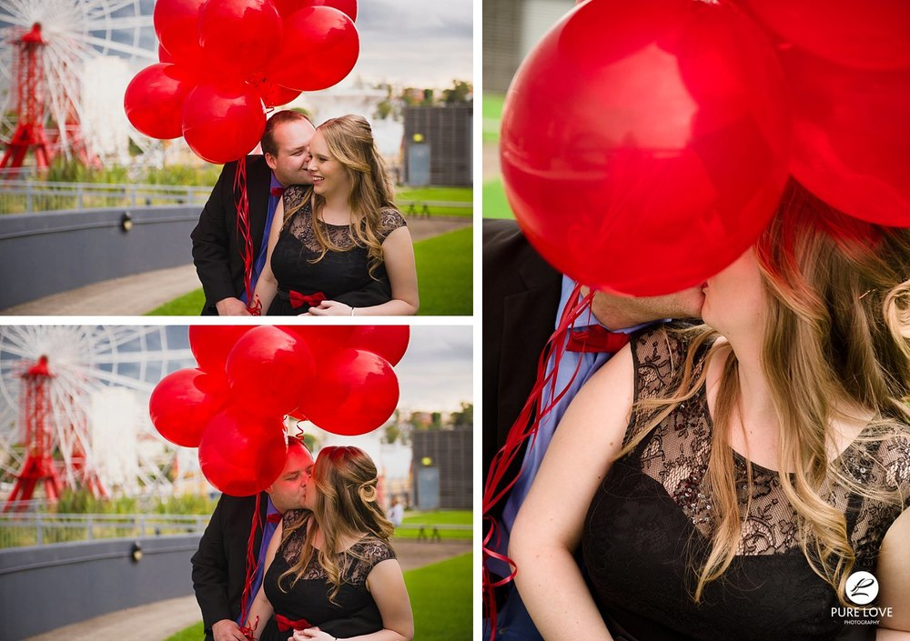 bay of plenty engagement photographer. Candid happy moments during engagement session. balloons are fun