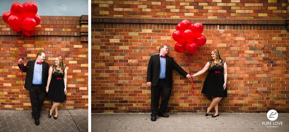 This couple wore mostly black and matching red bowls. They looked great and really have complemented each other. Red balloons added an additional interesting bright spot to the photos! LOVE IT!!