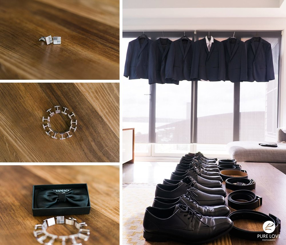 Grooms details. Suits. cufflinks