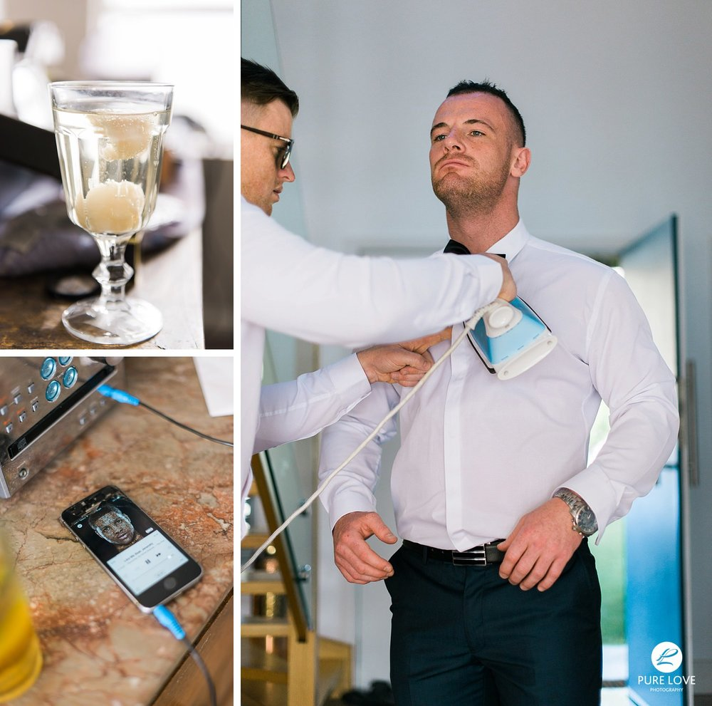 Groom and groomsmen fun preparation moments. Fun wedding photos