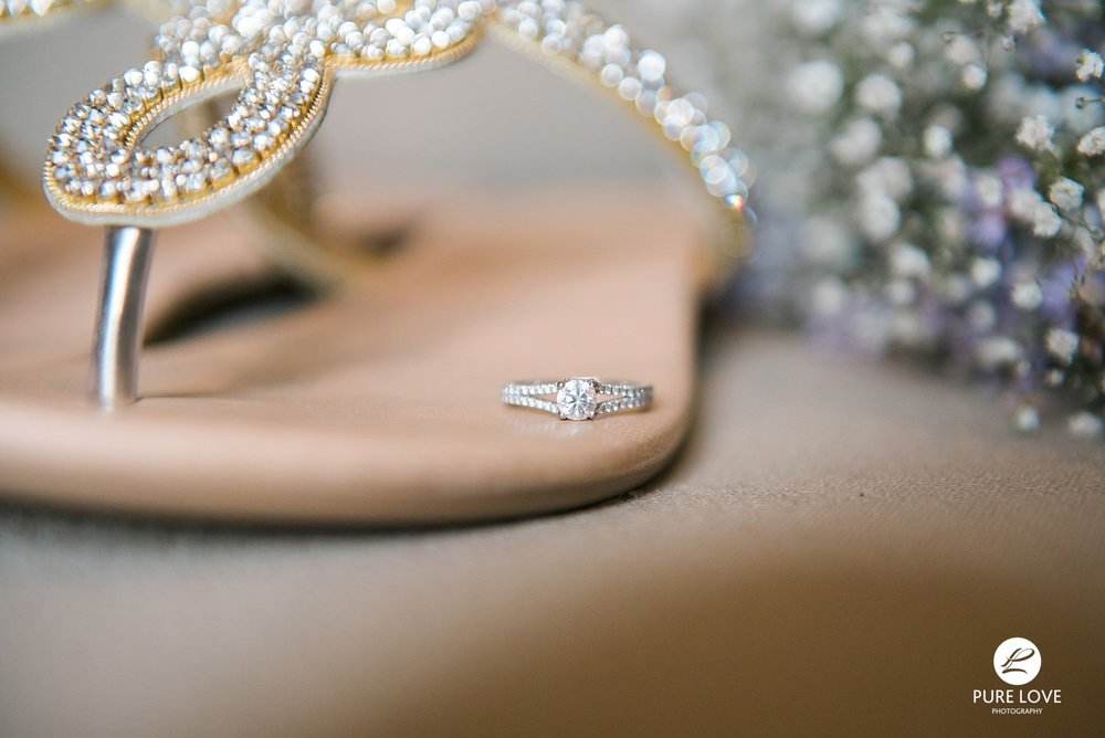 Wedding ring in a wedding shoe
