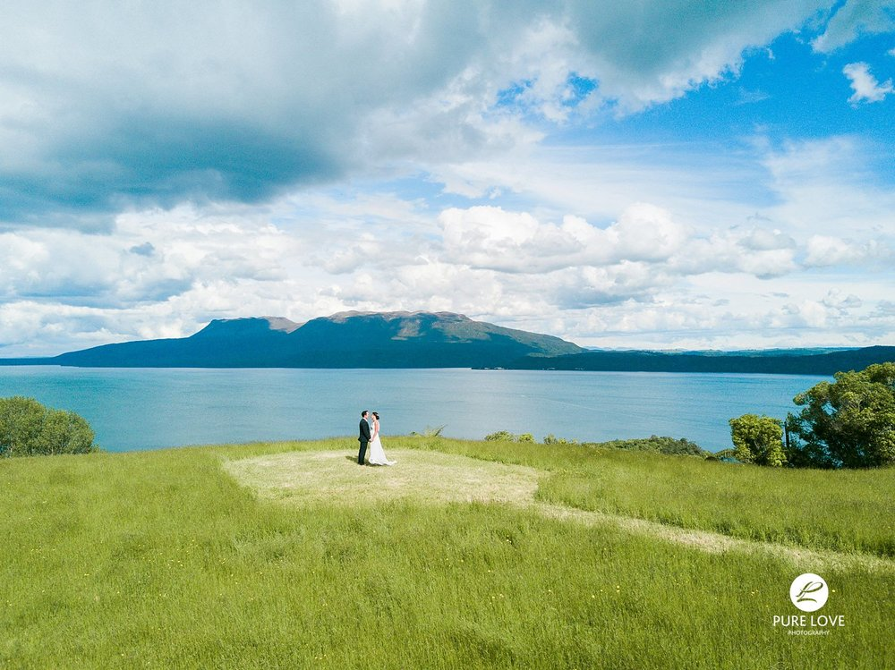 drone lake tarawera wedding