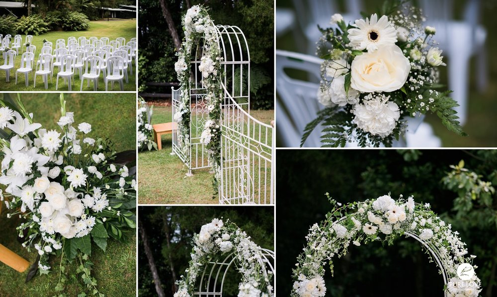 ceremony set up, white bridal flowers