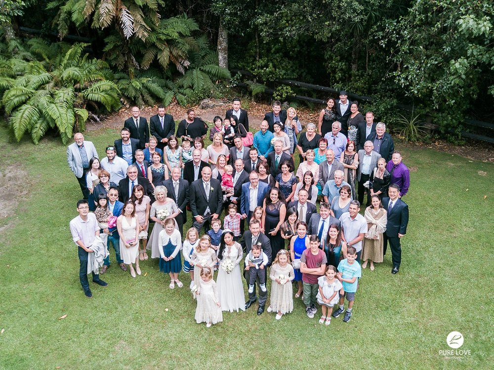 wedding group photo from the drone