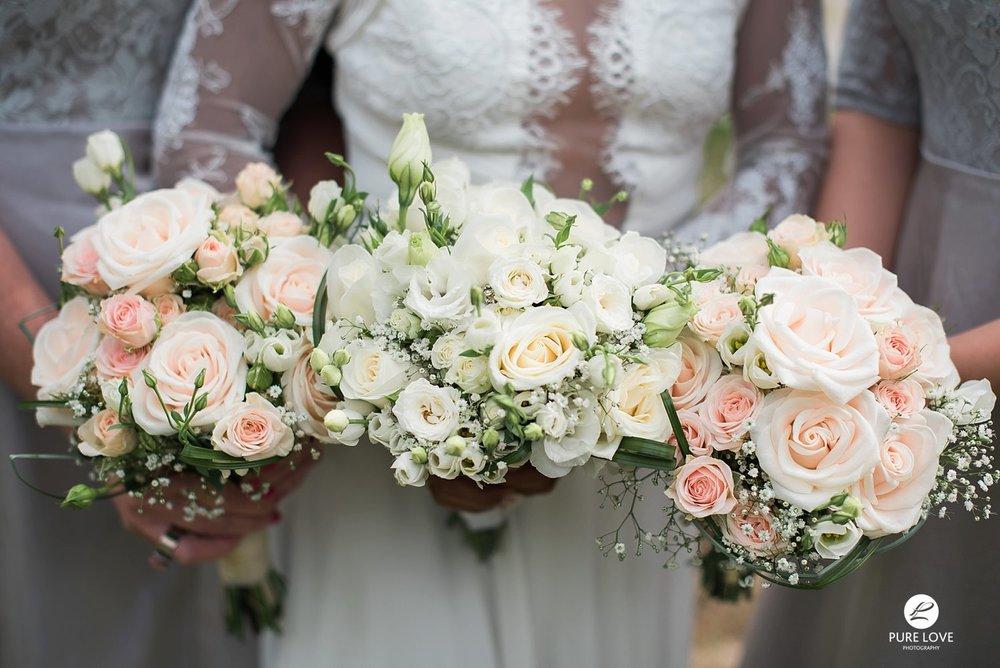 white pink pastel rose wedding flowers