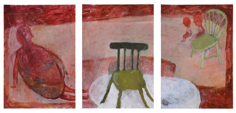 red figure with green chairs