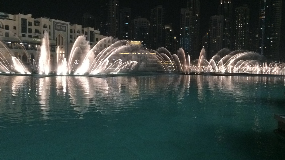 The show at the Dubai fountains is free and happens daily. If you are headed to Dubai - Add it to your must see list.