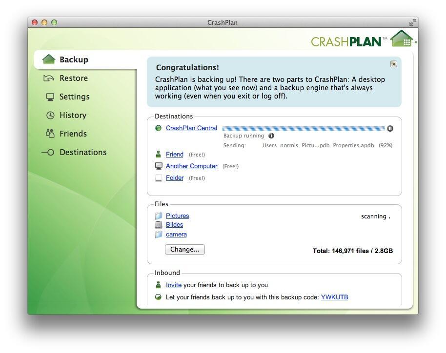 CrashPlan konfigurācijas interfeiss