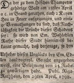 1798. gada avīzes ieraksts
