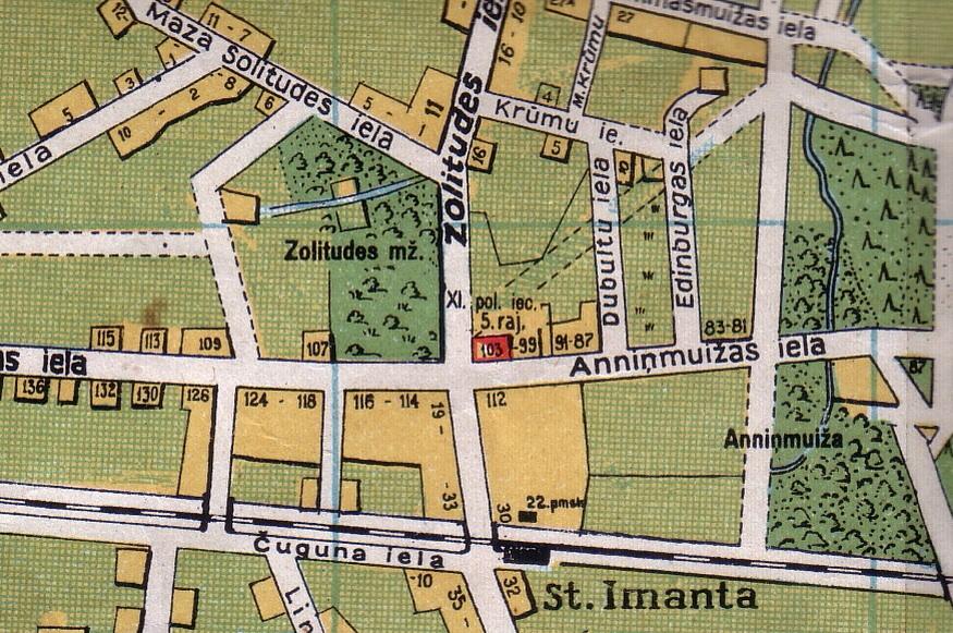 1930. gada karte, kurā arī skaidri iezīmēta muižas galvenā ēka
