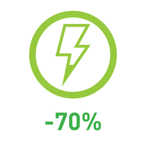 70% energy saved (compared to traditional bulbs) 節省七成能源(比起傳統燈泡)