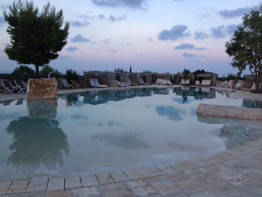 Swimming pool at dusk