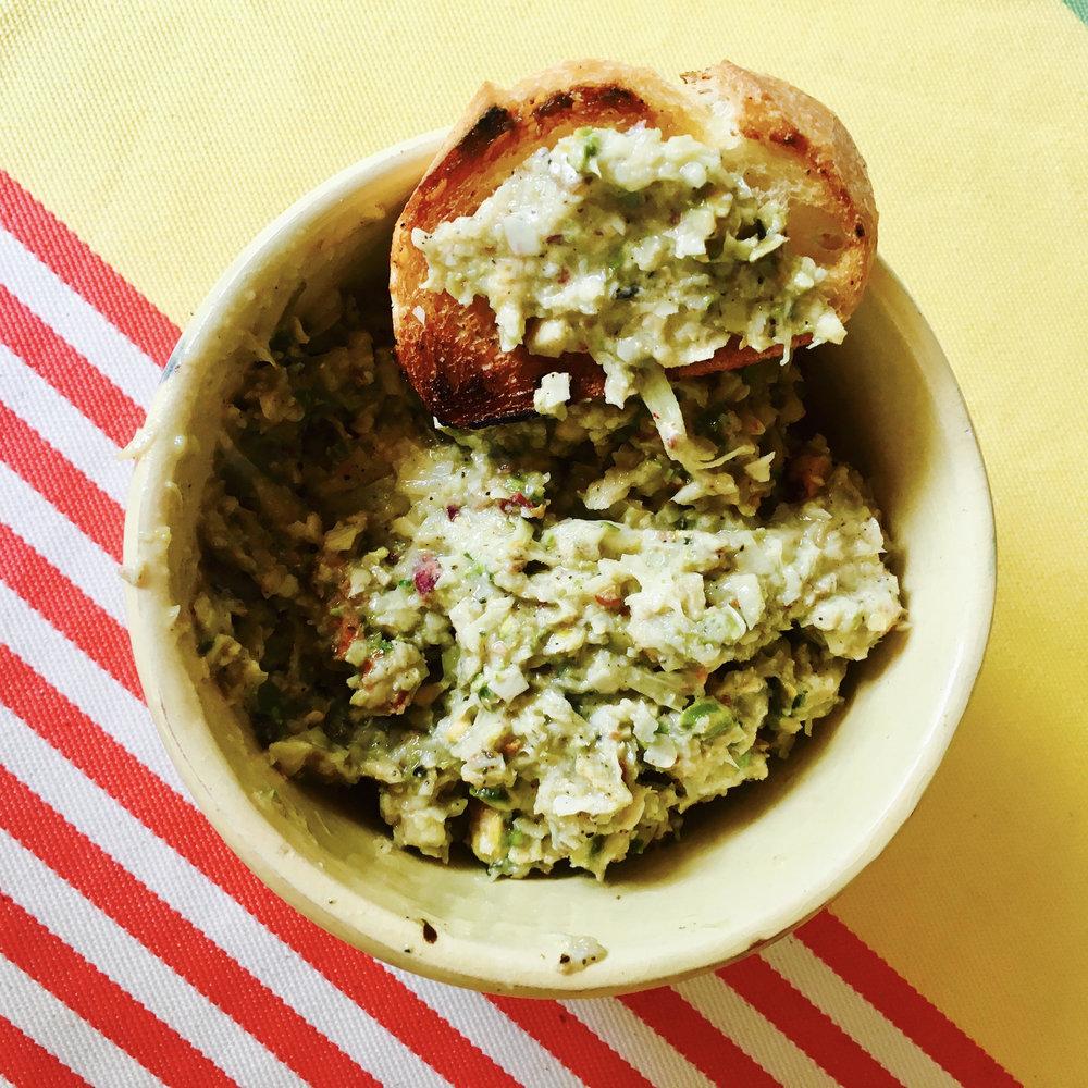 artichoke, green olive & pistachio tapenade
