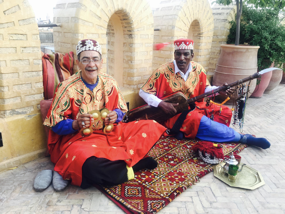 Gnaoua musicians at Yacout Restaurant, Marrakech