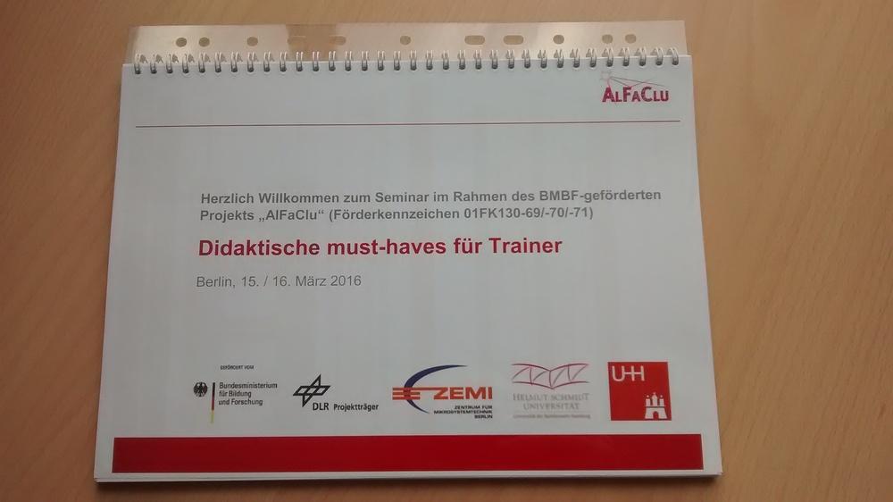 """©  Wiebke Kannenberg   Handout des am 15. und 16. März durchgeführten Seminars """"Didaktische must-haves für Trainer""""."""