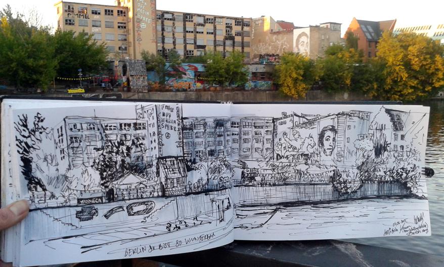 Sketch of Laeti-Berlin, Yaam- (Berlin-Friedrichshain)- 04.06.15- © Laetitia Hildebrand