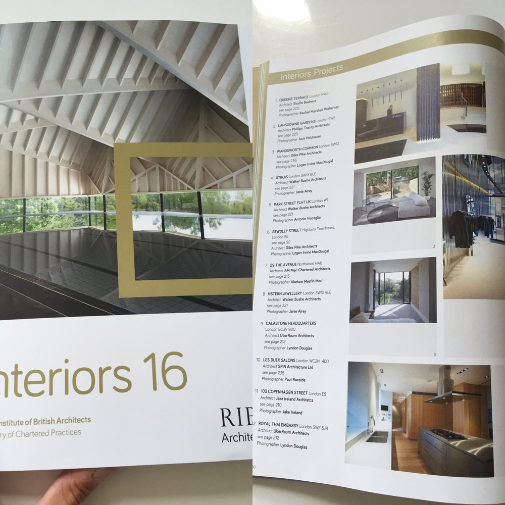 Studio Basheva has been published in this years RIBA Interiors magazine.