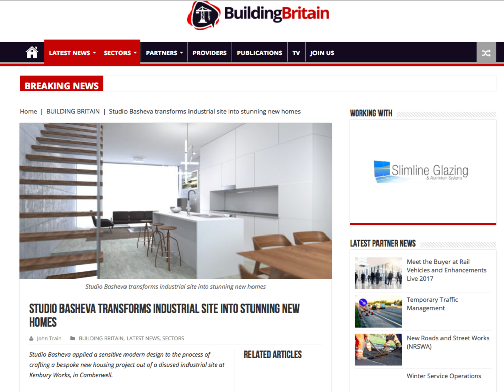 Ken bury Works project has been featured in the Building Britain. For the full article: http://www.businessbritainmedia.co.uk/studio-basheva-transforms-industrial-site-stunning-new-homes/