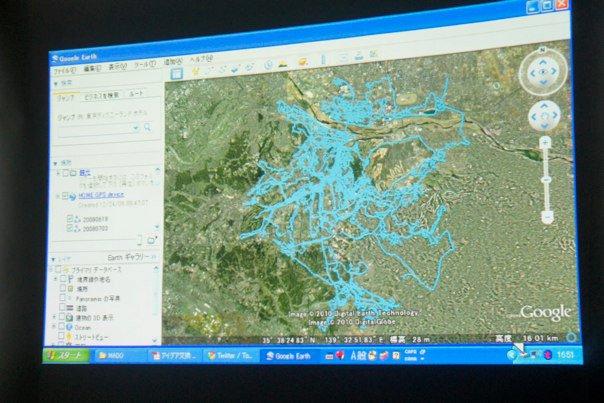 搭配google earth記錄下來他拍攝的路徑。