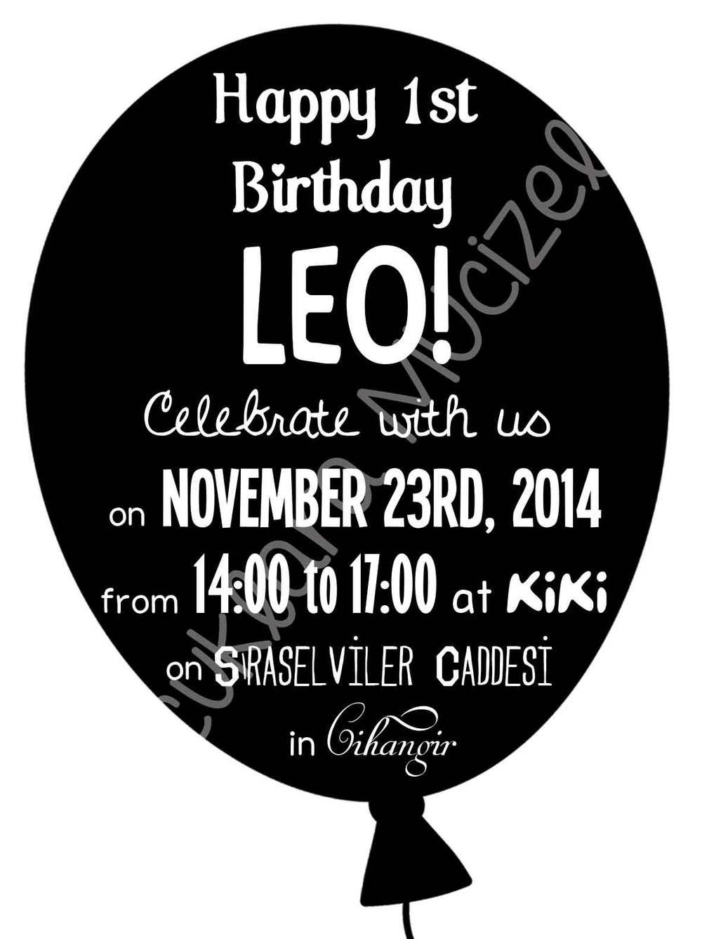 Leo 1 Yaşında! Davetiye