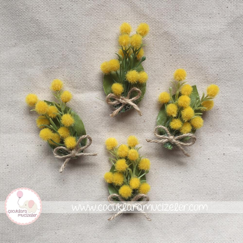 Mimoza  Çiçek Yaka İğnesi